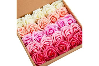 (SeriesA Red) - N & T NIETING Artificial Flowers Roses, 25pcs Real Touch Artificial Foam Roses Decoration DIY for Wedding Bridesmaid Bridal Bouquets Centrepieces, Party Decoration, Home Display (SeriesA Red)