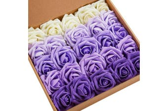 (SeriesC Purple) - N & T NIETING Artificial Flowers Roses, 25pcs Real Touch Artificial Foam Roses Decoration DIY for Wedding Bridesmaid Bridal Bouquets Centrepieces, Party Decoration, Home Display (SeriesC Purple)