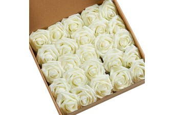 (Ivory) - N & T NIETING Artificial Flowers Roses, 25pcs Real Touch Artificial Foam Roses Decoration DIY for Wedding Bridesmaid Bridal Bouquets Centrepieces, Party Decoration, Home Display (Ivory)
