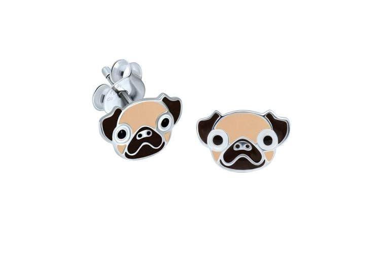Pug Head Earrings - Sterling Silver