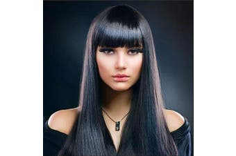 AYSAN HAIR Long Natural Black Brunett Wigs Straight Hair Wigs for Women Full Wig with Bangs with Wig Cap