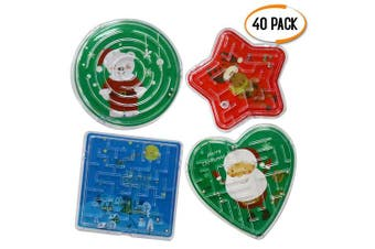 The Twiddlers 48 Christmas Themed Maze Puzzles - Assorted Shapes - Ideal for Piñata - Party Favours - Stocking Fillers Etc