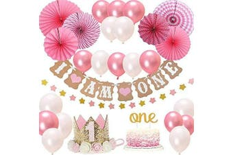 (Pink-1) - BOSONER FIRST 1st BIRTHDAY Girl DECORATIONS/Pink Theme Kit Set- Baby Girl 1st Birthday Party,Cake Topper-One, I Am One and Stars Banner, Fiesta Pink Hanging Paper Fan Flower,Pink and white balloons