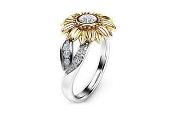 (7#) - Ring Fashionable Round Copper Sunflower Ring with Bright Zircon Decoration 4 Sizes(7#)