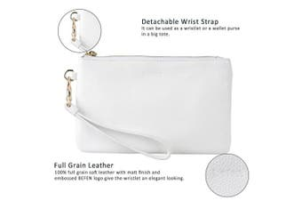 befen White Clutch Bags, 100% Genuine Leather Wristlet Purse for Women, Ladies Minimalist Wallet with Card Slots/Cash Pocket - Fit iPhone 8/7/6 Plus or Any Phone No Bigger Than 17cm