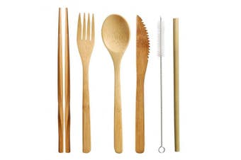 (1 Set Bamboo Cutlery(Army green)) - nuoshen Bamboo Cutlery Set, Bamboo Travel Utensils Include Knife Fork Spoon Chopsticks Straws
