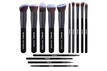 (YBlack Black) - BS-MALL(TM) Premium 14 Pcs Synthetic Foundation Powder Concealers Eye Shadows Makeup Brush Set(Black Black)