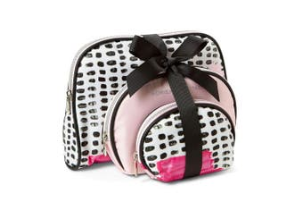 (Pink Print) - Adrienne Vittadini Cosmetic Makeup Bags: Compact Travel Toiletry Bag Set in Small, Medium and Large for Women and Girls - Pink Print