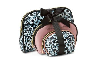 (Floral) - Adrienne Vittadini Cosmetic Makeup Bags: Compact Travel Toiletry Bag Set in Small, Medium and Large for Women and Girls - Floral