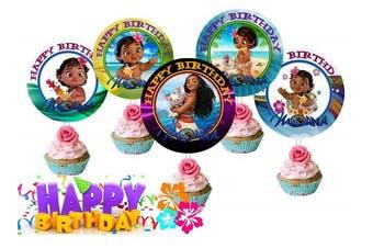 Crafting Mania LLC. 12 Baby Moana Birthday Inspired Party Picks, Cupcake Picks, Cupcake Toppers #1