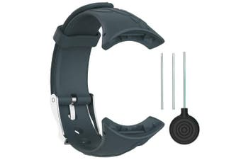 (Width 16mm, Female-Slate) - QGHXO Suunto M-Series Strap, Replacement Soft WristBand with Metal Buckle for Suunto M1/Suunto M2/Suunto M4/Suunto M5/M-Series Smart Watch