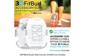 (Clear) - 3DFitBud Accessory Clip for 3DFitBud Simple Step Counter Walking 3D Pedometer (A420S)