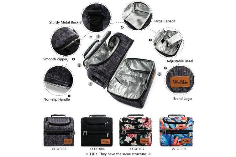 (Black) - Winmax Lunch Bag Large Insulated Cooler Bag Adults Lunch Bags for Women Men Picnic Bags Double Deck Cooler Lunch Tote Bag with Adjustable Shoulder Strap 12L (Black)