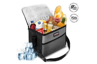 (10L) - SANNE Picnic Bag Lunch Bag Insulated Cooler Bag Meal Container Small Capacity Oxford Waterproof Lunch Bag with Adjustable Shoulder Strap, for Meal and A Variety of Foods,28.5 * 17 * 21CM,10L(Grey)