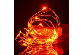 (Orange,3m) - Amazlab Halloween Orange Lights, 3m/10ft Soft Copper Wire Twine Micro Orange LED String Lights for Halloween Decorations Outdoor, 30 LEDs Starry Decorative Fairy Lights and 3 AA Batteries Operated