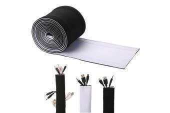 (300cm ) - Cable Management Sleeves, ENVEL Neoprene Cord Organiser with Free Nylon for TV USB PC Computer Network Wires (300cm ) DIY by Yourself, Adjustable Black and White Reversible Wire Hider