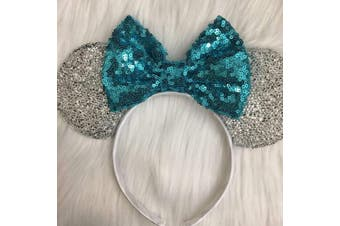 (light blue and black) - CLGIFT Rose gold Minnie Ears, Iridescent Minnie Ears, Silver gold blue minnie ears, Rainbow Sparkle Mouse Ears,Classic Red Sequin Minnie Ears (light blue and black)