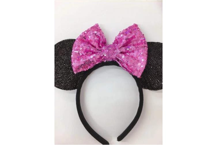 (Light purple) - CLGIFT Rose gold Minnie Ears, Iridescent Minnie Ears, Silver gold blue minnie ears, Rainbow Sparkle Mouse Ears,Classic Red Sequin Minnie Ears (Light purple)