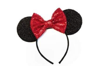 (Classic red) - CLGIFT Rose gold Minnie Ears, Iridescent Minnie Ears, Silver gold blue minnie ears, Rainbow Sparkle Mouse Ears,Classic Red Sequin Minnie Ears (Classic red)