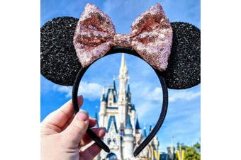 (Rose gold and black) - CLGIFT Rose gold Minnie Ears, Iridescent Minnie Ears, Silver gold blue minnie ears, Rainbow Sparkle Mouse Ears,Classic Red Sequin Minnie Ears (Rose gold and black)