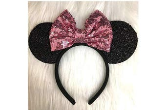(black and pink) - CLGIFT Rose gold Minnie Ears, Iridescent Minnie Ears, Silver gold blue minnie ears, Rainbow Sparkle Mouse Ears,Classic Red Sequin Minnie Ears (black and pink)