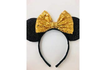 (gold and black) - CLGIFT Rose gold Minnie Ears, Iridescent Minnie Ears, Silver gold blue minnie ears, Rainbow Sparkle Mouse Ears,Classic Red Sequin Minnie Ears (gold and black)