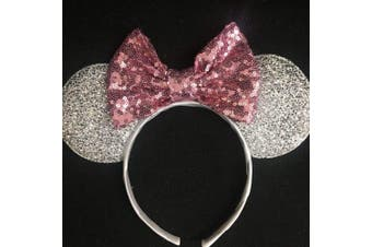 (Pink and silver) - CLGIFT Rose gold Minnie Ears, Iridescent Minnie Ears, Silver gold blue minnie ears, Rainbow Sparkle Mouse Ears,Classic Red Sequin Minnie Ears (Pink and silver)