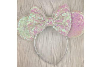 (,Iridescent white) - CLGIFT Rose gold Minnie Ears, Iridescent Minnie Ears, Silver gold blue minnie ears, Rainbow Sparkle Mouse Ears,Classic Red Sequin Minnie Ears (,Iridescent white)