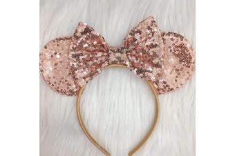 (Rose gold and rose gold) - CLGIFT Rose gold Minnie Ears, Iridescent Minnie Ears, Silver gold blue minnie ears, Rainbow Sparkle Mouse Ears,Classic Red Sequin Minnie Ears (Rose gold and rose gold)