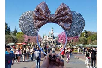 (Rose gold and Silver) - CLGIFT Rose gold Minnie Ears, Iridescent Minnie Ears, Silver gold blue minnie ears, Rainbow Sparkle Mouse Ears,Classic Red Sequin Minnie Ears (Rose gold and Silver)