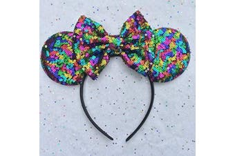 (Dark rainbow) - CLGIFT Rose gold Minnie Ears, Iridescent Minnie Ears, Silver gold blue minnie ears, Rainbow Sparkle Mouse Ears,Classic Red Sequin Minnie Ears (Dark rainbow)