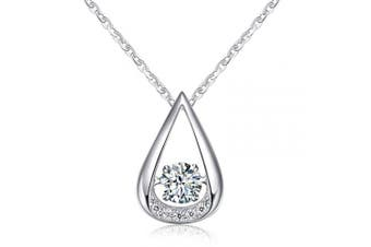 Sterling silver floating teardrop and cubic zirconia necklace featuring a floating sparkling cubic zirconia stone and sparkling cubic zirconia on the pendant, raised to allow light to shine through!