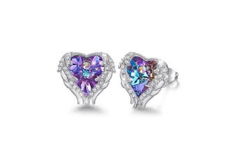 (Purple) - CDE Hypoallergenic Angel Wing Stud Earrings for Women Heart Crystals Studs Silver jewellery Girls Gifts