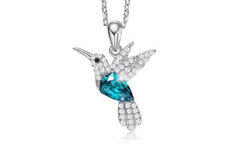 (Green) - S925 Sterling Silver Necklace Woman Crystals Pendant Necklaces Hummingbird Fine jewellery Gift for Her