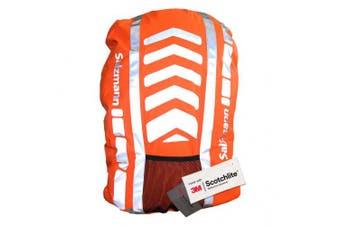 (Standard (up to 36L), Tangerine Orange) - Salzmann 3M Reflective Rucksack Cover | High Visibility, Waterproof, Weatherproof | Made with 3M Scotchlite
