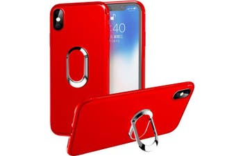 (Red) - iPhone Xs Max Case,WATACHE Slim Fit Soft TPU Case with 360 Degree Rotation Metal Ring Grip Holder Stand [Work with Magnetic Car Mount] for Apple iPhone Xs Max (17cm ) - Red
