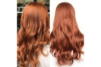 (50cm , Natural Wave,Red#350) - BLUPLE Natural Wavy Lace Front Wigs Women's #350 Copper Red Heat Resistant Synthetic Hair Half Hand Tied Wig Free Part for Halloween (50cm , Natural Wave,Red#350)