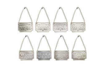 (Silver) - Homend Liquor Decanter Tags, Deluxe Set of Liquor Tags for Bottles or Decanters, Set of Eight With Adjustable Chain Features - Whiskey, Bourbon, Scotch, Gin, Rum, Vodka, Tequila and Brandy (Silver)