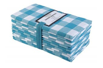 (20x20, Teal White) - Cotton Clinic 50x50 cm Cloth Napkins Gingham Set of 12, Soft and Comfortable Dinner Napkins Cloth, Washable Cloth Napkins Farmhouse with Mitered Corners - Peacock Green White