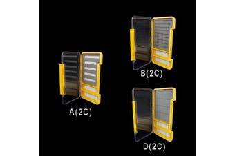 (B (2C), Orange) - Riverruns Super Slim Fly Box100% Waterproof Fishing Hook Box Easy Grip Foam Multi Magnetic Compartments