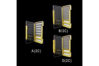 (A (2C), Green) - Riverruns Super Slim Fly Box100% Waterproof Fishing Hook Box Easy Grip Foam Multi Magnetic Compartments