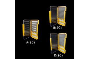 (D (2C), Orange) - Riverruns Super Slim Fly Box100% Waterproof Fishing Hook Box Easy Grip Foam Multi Magnetic Compartments