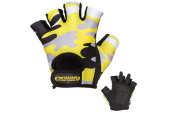 (Yellow, Large) - Contraband Pink Label 5217 Womens Design Series Camo Pattern Lifting Gloves (PAIR)