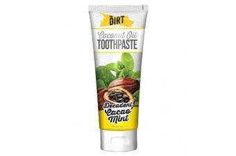 (Cacao Mint, Six Month Supply 150g) - The Dirt Cacao Mint Coconut Oil Toothpaste | All Natural with Essential Oils, MCT Oil, Fluoride Free | Cacao Mint 6 Month Supply