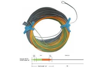 (WF4F, Moss green+orange+grey) - Aventik Tri-Tone Weight Forward Fly Fishing Floating Line Percerption Line Ultra Low Stretch Core Loops Line Loading Zoom Welded Loops Line ID