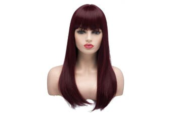 AYSAN HAIR Long Straight Wigs for Women Ladies Synthetic Full Hair Natural Burgundy Wine Red Wig with Straight Bangs for Daily Wear