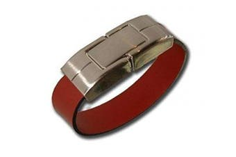 Anico 16GB USB Memory Stick Leather Bracelet with Stainless Brown Packed as a Gift