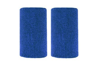 (Blue) - BBOLIVE 1.2m Inch Wrist Sweatband in 17 Different Neon Colours - Athletic Cotton Terry Cloth - Great All Outdoor Activity(1 Pair)