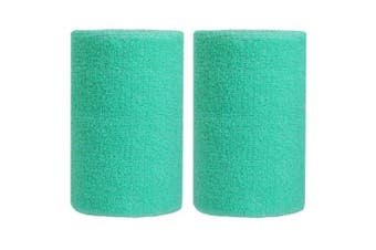 (Light Green) - BBOLIVE 1.2m Inch Wrist Sweatband in 29 Different Neon Colours - Athletic Cotton Terry Cloth - Great for All Outdoor Activity(1 Pair)