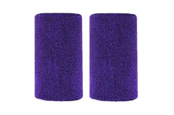(Purple) - BBOLIVE 1.2m Inch Wrist Sweatband in 29 Different Neon Colours - Athletic Cotton Terry Cloth - Great for All Outdoor Activity(1 Pair)